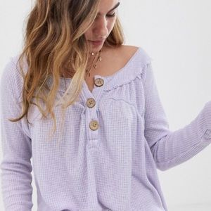 We the Free lilac waffle-knit Henley S